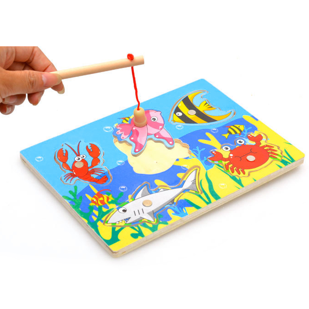 Brand New Baby Kid Wooden Magnetic Fishing Game 3D Jigsaw Puzzle Toy Interesting Baby Children Educational Puzzles Toy Gift(China (Mainland))