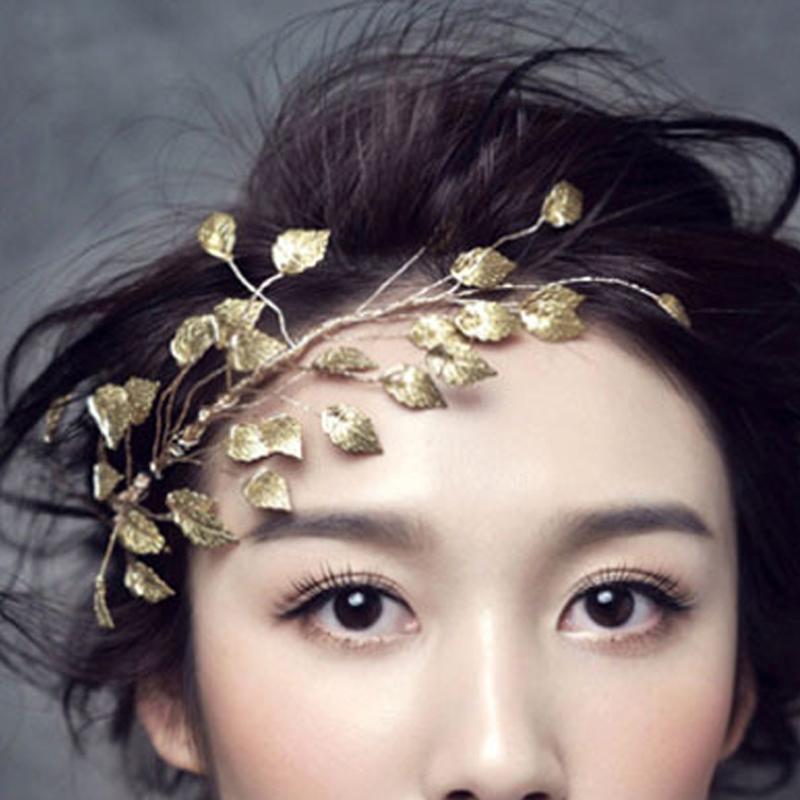 Gold Leaf Wedding Hair Ornaments Accessories Bridal Hair Vine Pieces Jewelry Handmade Bride Headpiece(China (Mainland))