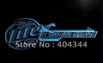 LE155- It's Miller Time Guitar Decor Bar Neon Light Sig