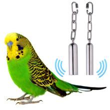 1 pz in acciaio inox appeso campana pappagallo cage morso giocattolo scoiattolo pappagallo piccione altalena stand campane giocattoli dropshipping(China (Mainland))