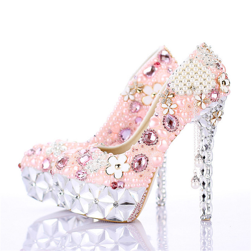 Pink Wedding Dress Shoes : New beautiful wedding shoes round toe pink pearls