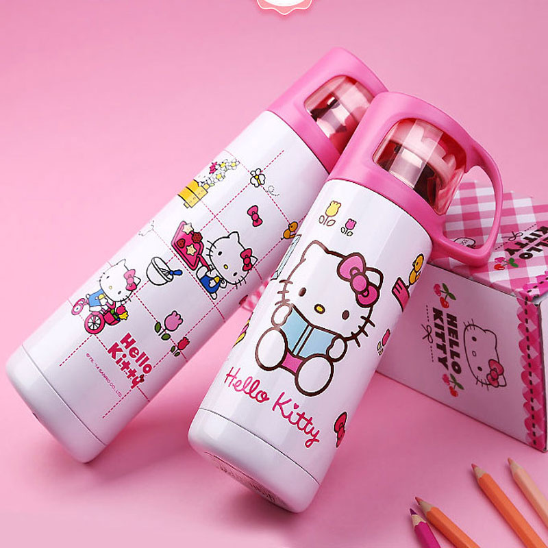 Hello Kitty Vacuum Thermos Cup Cartoon Cup With Lid Water Kettle Kids Insulated Flasks Mug Thermo Flasks Drinkware Bottle(China (Mainland))
