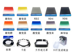 67mm Adapter ring+ 10pcs Square color Filter Kit + Filter holder + Filter Box For Cokin P series+free shipping +tracking number(China (Mainland))
