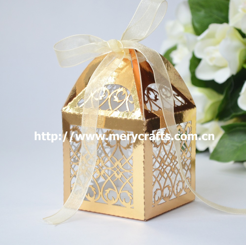 Wedding Favor Boxes For Chocolates : Gold Boxes Wedding Party Favor Candy Boxes 50 pcs lot Paper Boxes