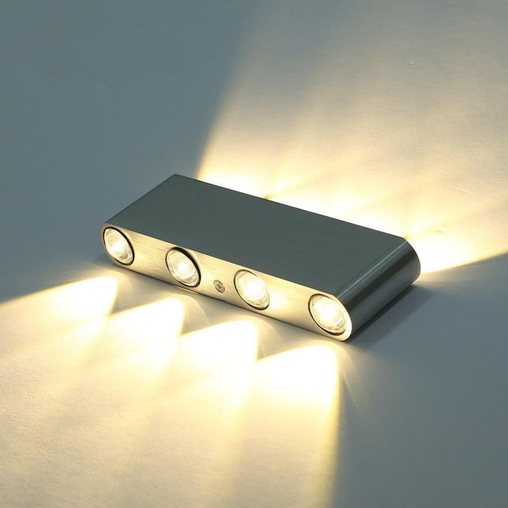 Modern Rectangle LED 8W Wall Sconces Light Fixture Aluminum High Power 8 LED Up Down Wall Lamp Spot Light Sconce Lighting