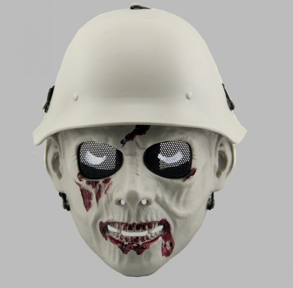 DC13 Zombie Soldier Skull Full Face Cool Airsoft Mask Gray Bleed Free Shipping(China (Mainland))