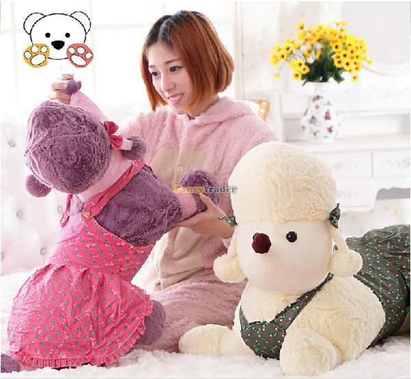 Fancytrader 1 pc New Hot 35'' / 90cm Lovely Stuffed Giant Plush Animal Poodle Toy, 5 Colors Available, Free Shipping FT50841(China (Mainland))