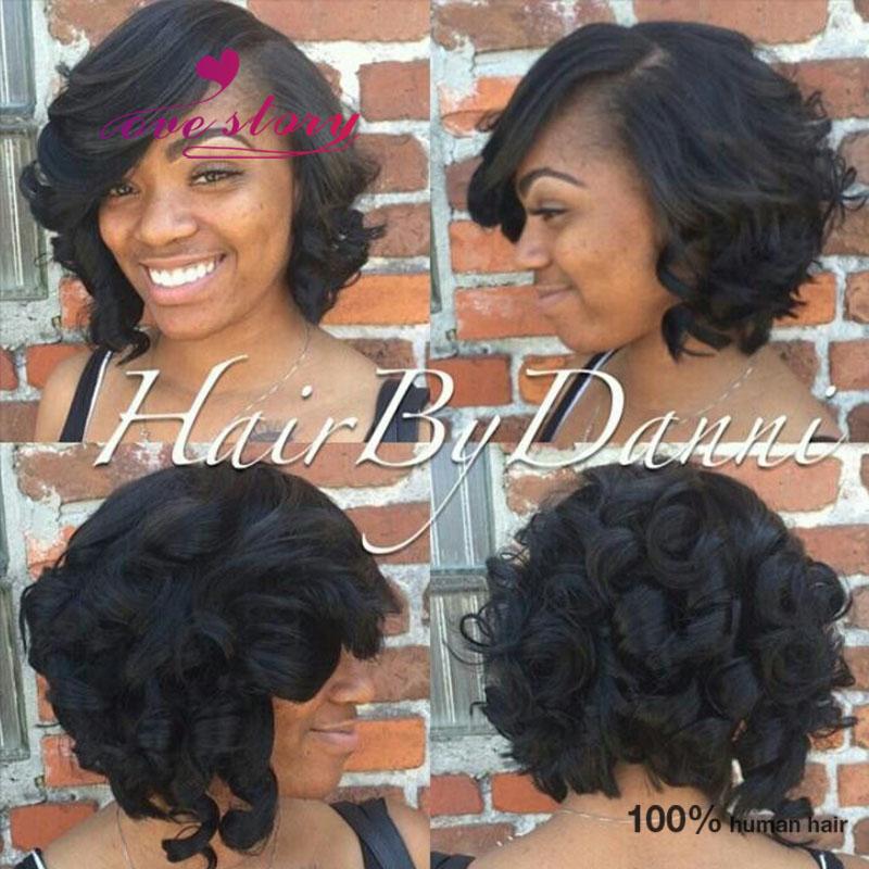 Cheap Bob Style Lace Front Wigs With Bangs Short Wavy Bob