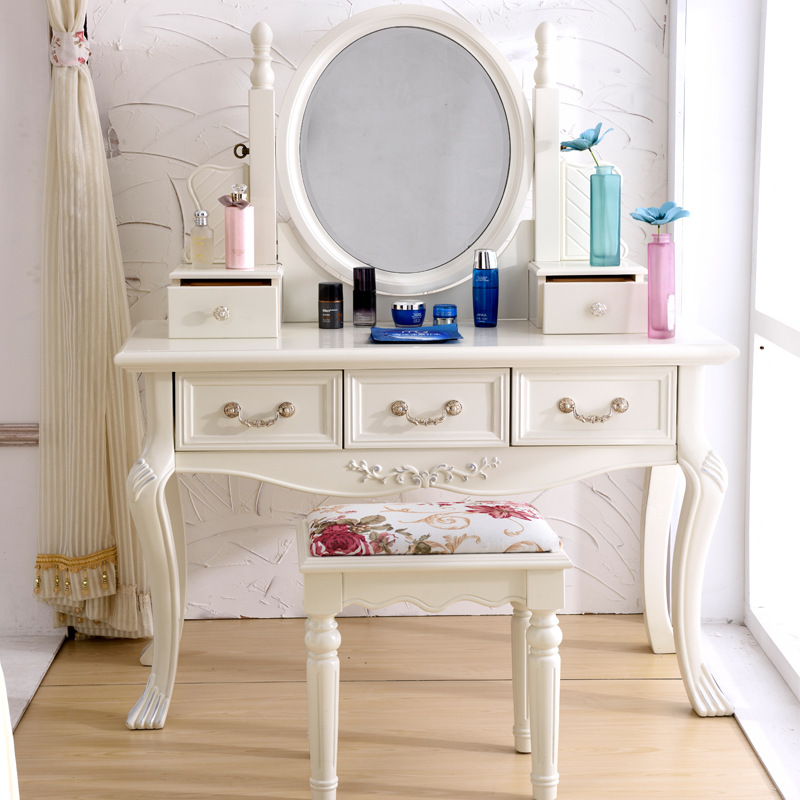 European style bedroom ivory white french dressing for Chambre a coucher avec coiffeuse