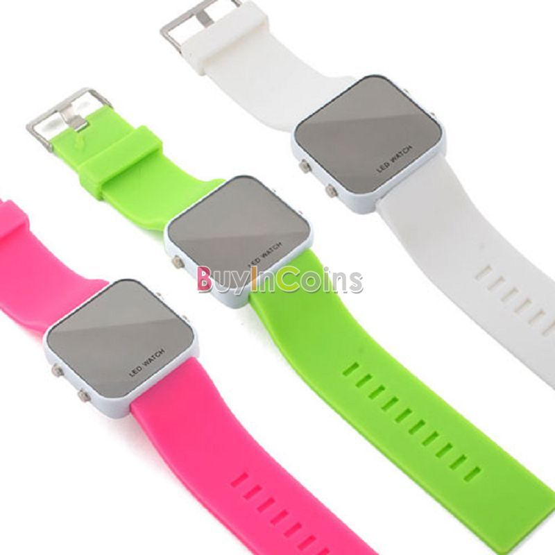 New LED Jelly Style Silicone Sports Unisex Mirror Watch US AS #3356(China (Mainland))