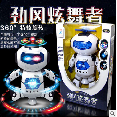 Hot Glowing Toys Rotating Universal Gift Was Walk Dazzle Dancers Dancing Electric Robot(China (Mainland))