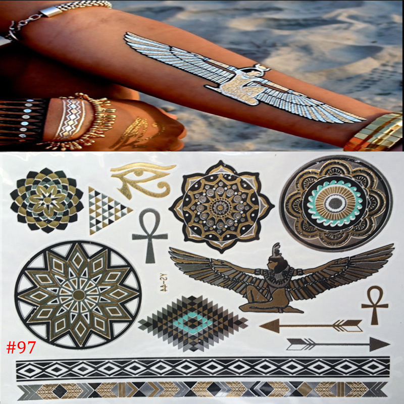New wholesale women Temporary Tattoo body art waterproof Gold tattoo Indian style sex products flash tattoos