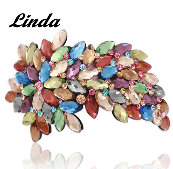 Extra Large Leaf cyrstal gold leaf hair for girl hair accessories crystal fashion crystal hair claw RM206 free shipping(China (Mainland))