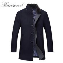 Fashion Men Winter Jackets Mens Fur Collar Wool Coat Chaqueta Hombre Duffle Coat  Mens Pea Coat Wool Trench Male Jackets(China (Mainland))