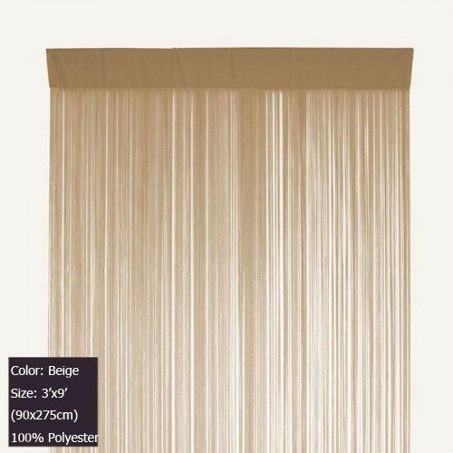 Beige Tassel Fringe Curtain String Curtain Panel for door and windows ...
