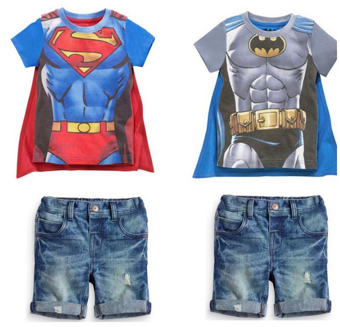 baby boys set Summer superman clothes short sleeve t shirt +cape+ pants jeans 3pcs suit children clothing set free shipping(China (Mainland))
