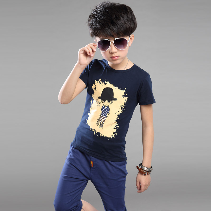 2016 summer style new big boys clothing,high quality Cotton fashion cartoon T-shirt and sports pants Sets,4-13 year-old boy Suit(China (Mainland))