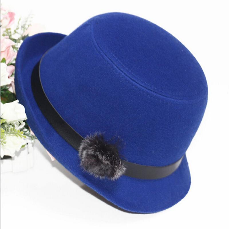 2016 весна осень зима женщин шерсть fedora шляпы задние крыло кролика волосы мяч Винтаж fedora колпачок для дамы девочек