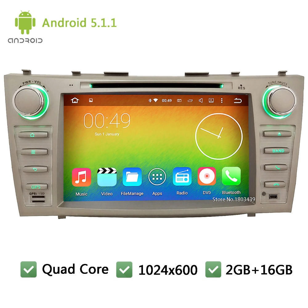 "Quad core WIFI FM BT 2Din 8"" Android 5.1.1 1024*600 Car DVD Player Radio PC Audio Stereo Screen GPS For TOYOTA CAMRY 2007-2011(China (Mainland))"