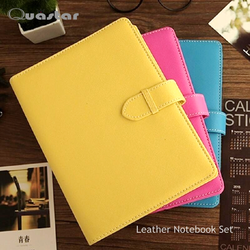A5 A6 loose-leaf Macaron PU leather schedule notebook diy PDA diary book set 6 hole weekly planner journal cuaderno lindo - Quastar Co.,Ltd. store