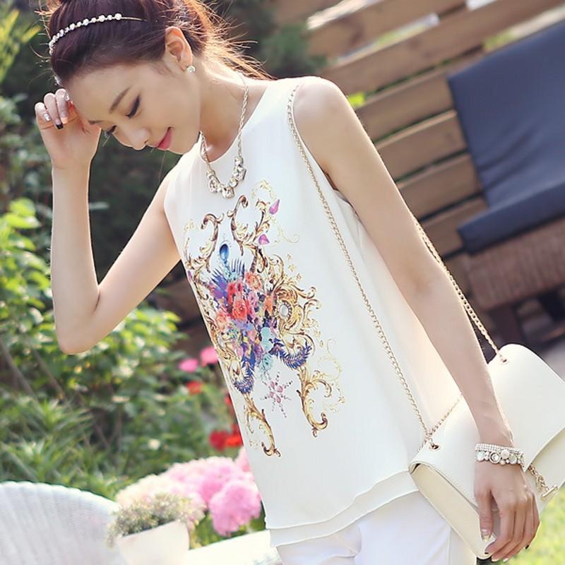 plus size 2XL 2015 New Women Fashion Casual Top Vest Shirts print Shirt Chiffon Blouses - BALALA ONLINE SHOP store