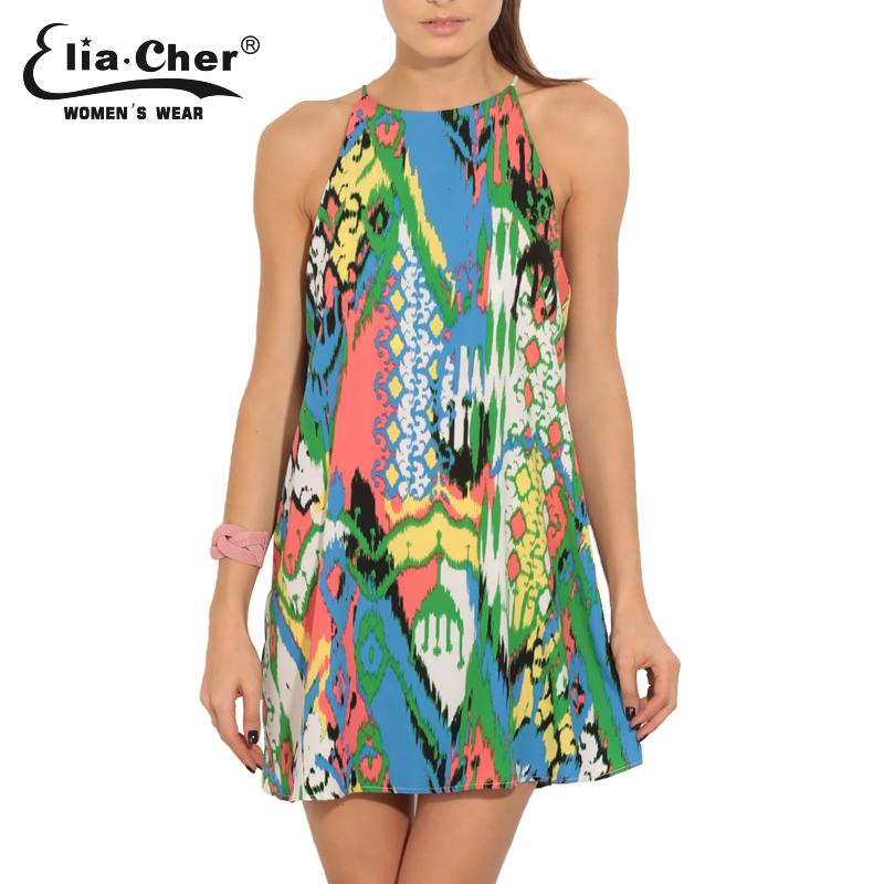 Eliacher Women 2016 l Women Clothing Print Boho Dresses Summer Plus Size Beach Patterned Chaos Halter Shift Dress vestidos 8309(China (Mainland))