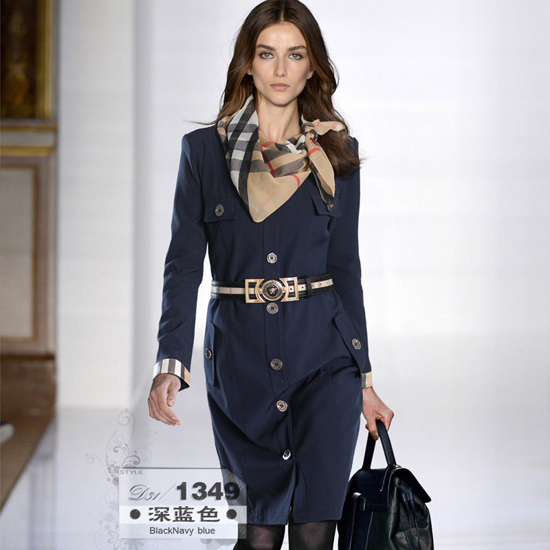 Free Shipping Fashion Dark Blue all-match Business Elite Soft Style Career Dress with Belt & Scarves(China (Mainland))
