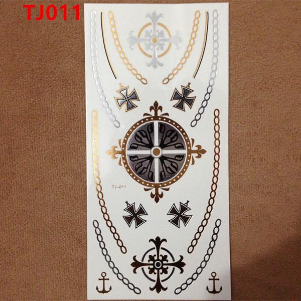 1PC Flash Metallic Waterproof Temporary Tattoo Gold Silver Men Women Henna Circle Cross Necklace Design Tattoo Sticker TJ-011(China (Mainland))