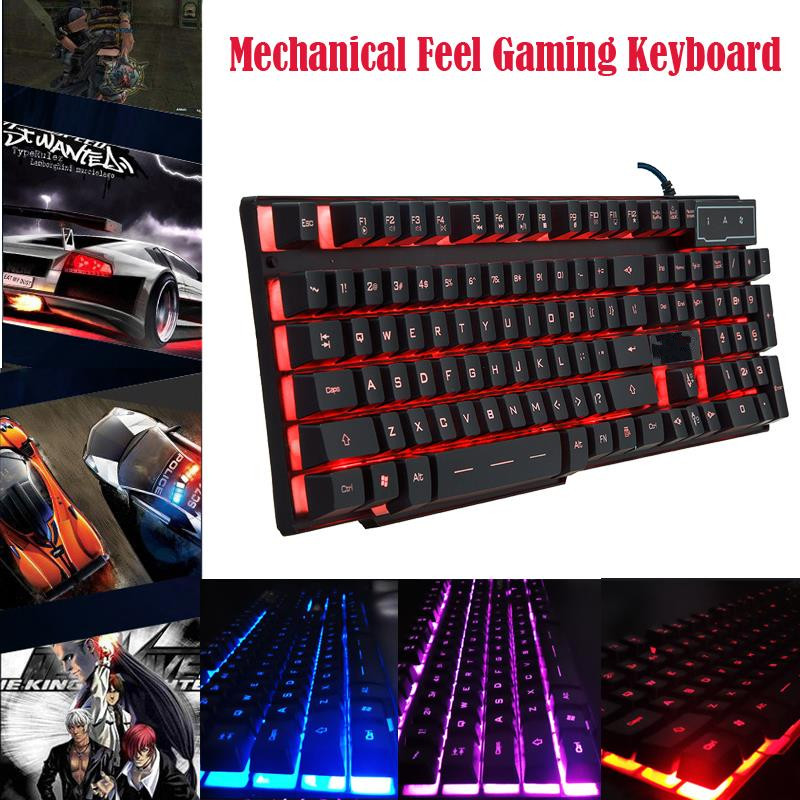 LED Mechanical Touch Feel Gaming Controller Pro Gamer USB Wired Backlit Keyboard Floating 3 Color Dota 2 PC/Laptop - Trusted Link store