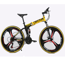 26inch folding mountain bike 21 speed double damping 6 knife wheel and 3 knife wheel bicycle double disc brakes mountain bike(China (Mainland))