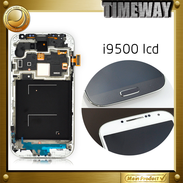 10 months warranty LCD Screen Display Digitizer + Frame Assembly For Samsung S4 IV i9500 i9505 white (with logo)