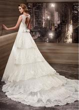 Plus Size Wedding Dress Fabulous Tulle Scoop Neckline 2 in 1 Wedding Dresses with Detachable Train WED90288(China (Mainland))