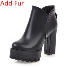 Bonjomarisa 2019 Thu Đông Plus Size 32-48 Nữ Xe Máy Nữ Nền Tảng Mắt Cá Chân Giày Cao Rộng Gót giày N(China)