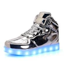האיחוד האירופי 25-46 Led נעליים לילדים ומבוגרים USB מטען אור עד חיל אוויר עבור בני בנות גברים נשים אופנה המפלגה זוהרת סניקרס(China)