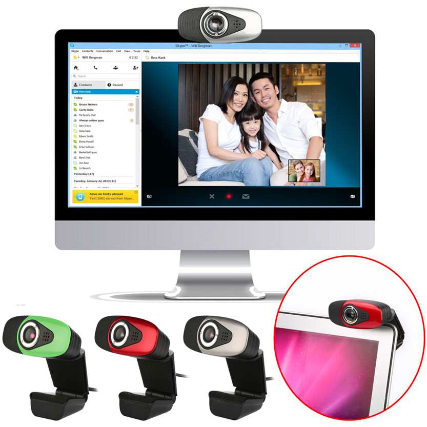 Del Best HD 12 Megapixels USB 2.0 Webcam Camera with MIC for Skype Computer PC Laptops July 01(China (Mainland))