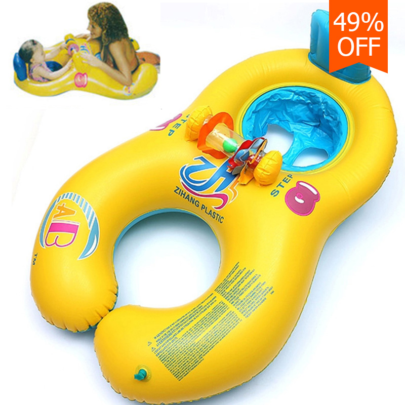 Inflatable baby swimming neck ring mother and child swimming circle double swimming rings float seat piscine(China (Mainland))