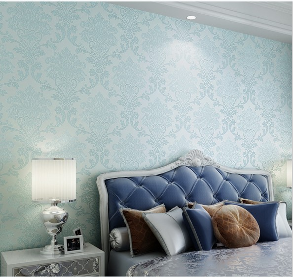 Fashion blue wallpapers 3d non woven papel de parede for Blue and white bedroom wallpaper