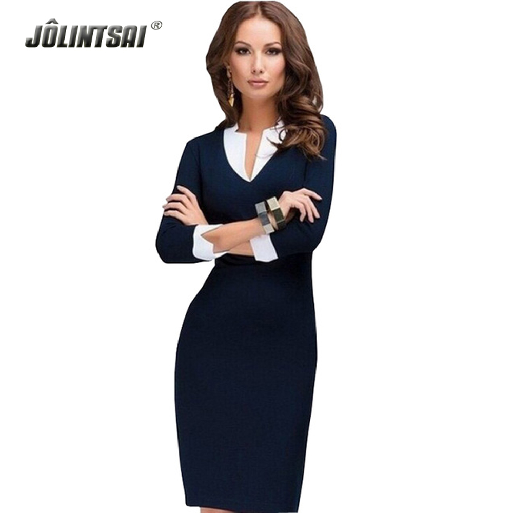 2016 New Women Winter Dress Fashion V-neck Work Wear Formal Dresses Plus Size White Collar Casual Office Clothes Blue(China (Mainland))