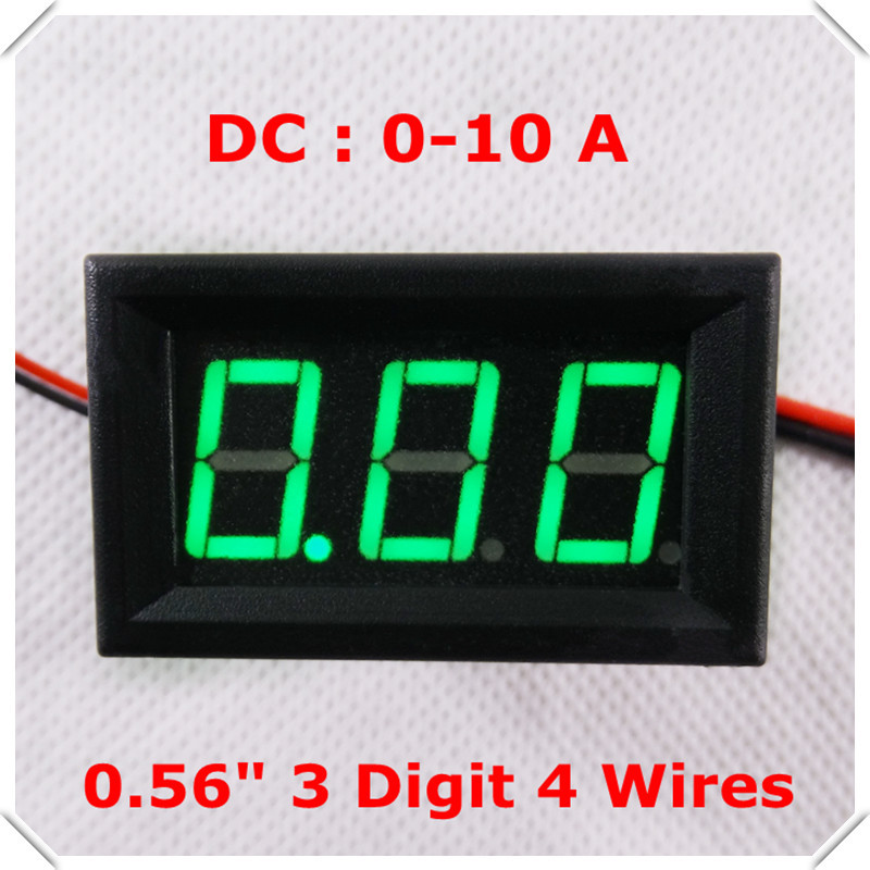 "RD Digital Ammeter DC 0-10A four wires AMP 3 digit 0.56"" Current Panel Meter LED Display Color: Green [ 4 pieces / lot](China (Mainland))"