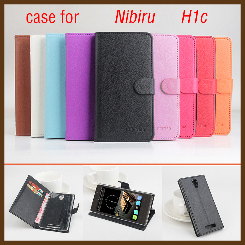 New Brand Litchi Grain For Nibiru H1C Case High Quality Leather Case Back Cover With Wallet For Nibiru H 1C Case Phone(China (Mainland))