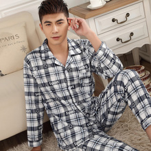 Sleepwear male spring and autumn of cotton male plus size  elderly 100% long-sleeve cotton pajamas set s for men free shipping(China (Mainland))