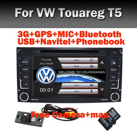 2 din 7 inch Car DVD VW Touareg Multivan T5 (2002-2010) GPS Bluetooth Radio RDS USB IPOD TV Steering wheel Canbus Free camera(China (Mainland))