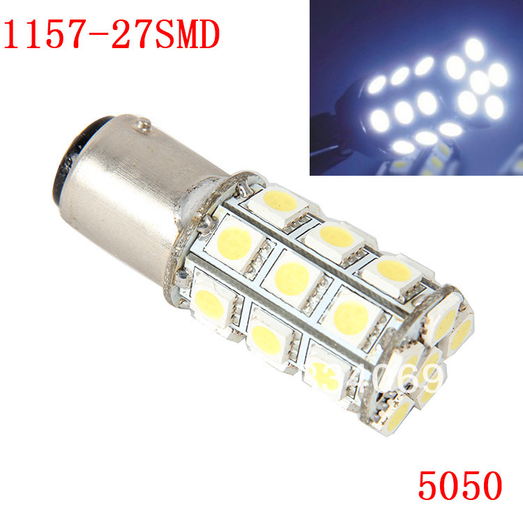 1 Piece 1157 27SMD 5050 White Micro Dome Index Car LED Lamp Bulbs Wedge White Light Headlight DC12V(China (Mainland))