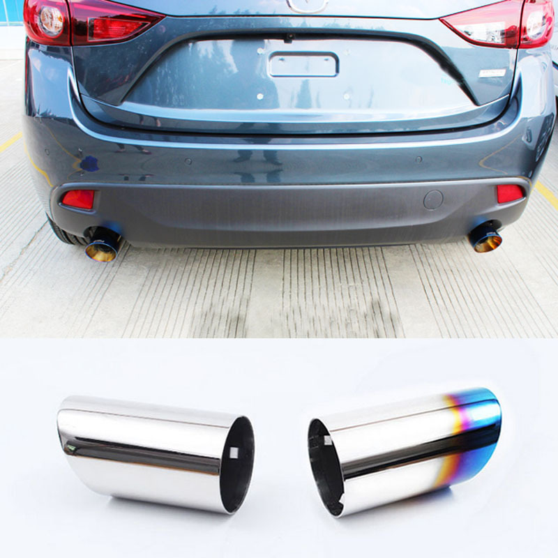 New Upgrade Car Styling Exhaust Tail Pipes For Mazda 3 Axela Hatchback 2014 2015 Best Quality Free Shipping(China (Mainland))