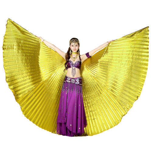Promotion Egyptian Egypt Belly Dance Dresses Costume Isis Wings Performing Accessories Golden (no stick)(China (Mainland))