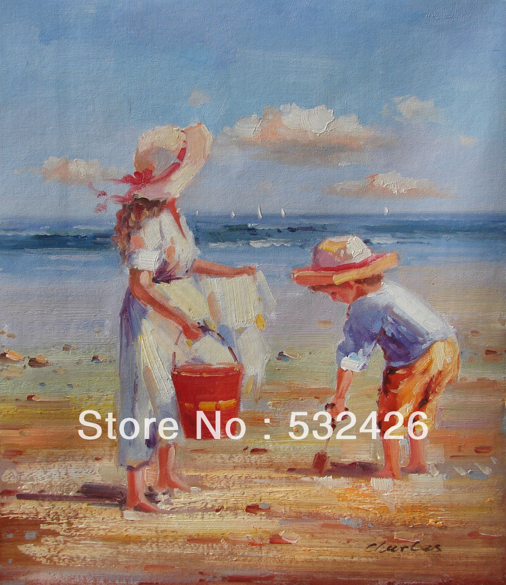 Pics for oil paintings of children playing on the beach for Oil painting for kids