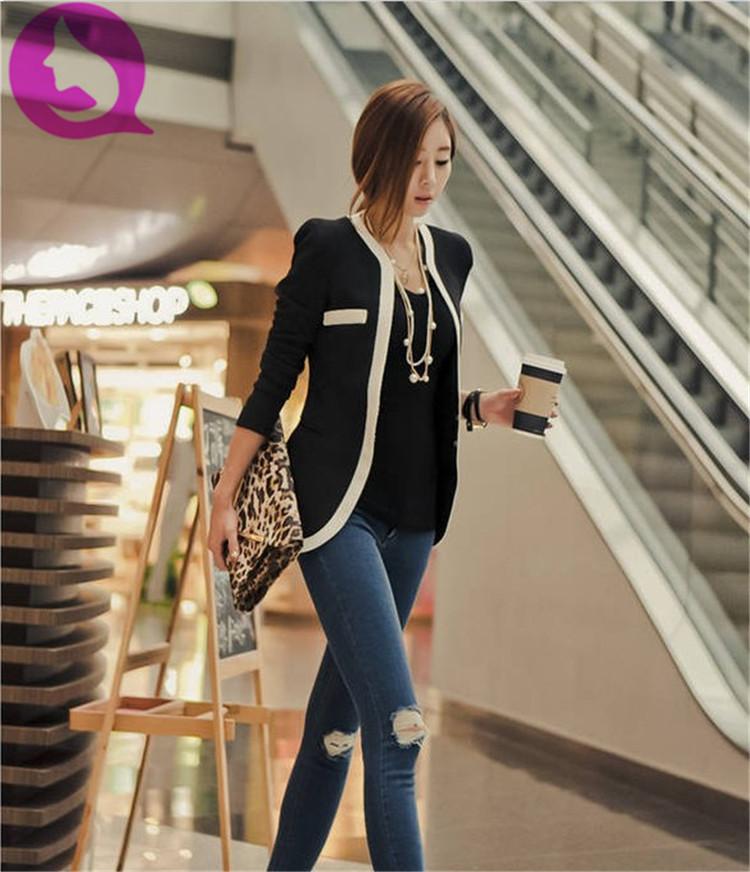 к 2015 году Новая мода женщин тонкий пальто случайные куртки леди с длинным рукавом v-образным вырезом одной кнопки костюм женщина осень верхняя одежда hr-0428