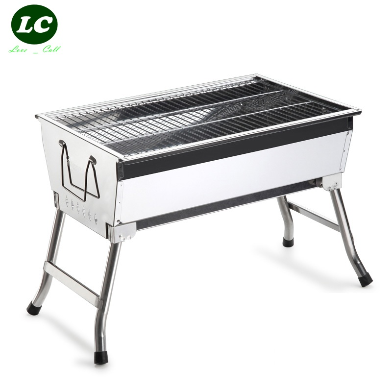 free shipping BBQ Grills PORTABL CHARCOAL BBQ GRILLStainless steel stove outdoor portable charcoal barbecue grill stove fold(China (Mainland))