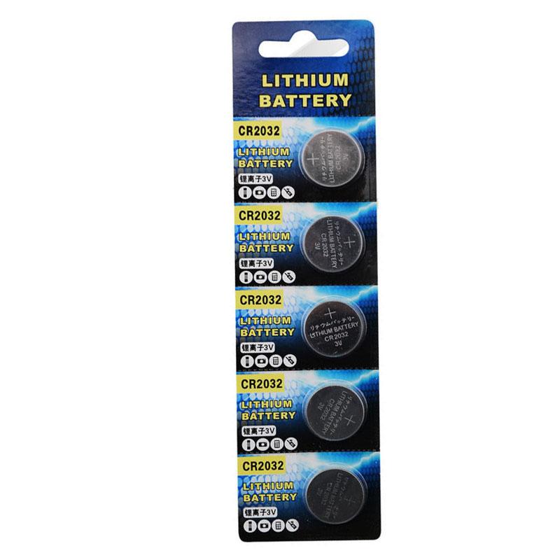 5pcs/lot CR2032 Button Battery 3V 220mAh Coin Li-ion Lithium Cell ECR2032 DL2032 KCR2032 EE6227 Rohs(China (Mainland))