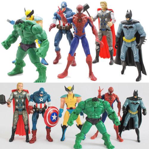 6PCS The Avengers Hulk Captain Wolverine Batman Spiderman Thor Figure Kids Toy A(China (Mainland))